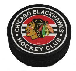 CHICAGO BLACKHAWKS -  STRIPED TEXTURED ACRYLIC HOCKEY PUCK