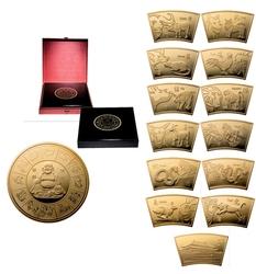 CHINESE LUNAR CALENDAR -  CHINESE LUNAR CALENDAR MEDALLION SET -  2014 CHINA COINS