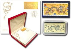 CHINESE LUNAR CALENDAR -  YEAR OF THE DRAGON - STAMPS AND GOLD BAR SET -  2000 CANADIAN COINS