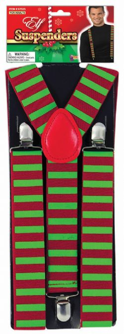 CHRISTMAS -  ELF SUSPENDERS - GREEN AND RED
