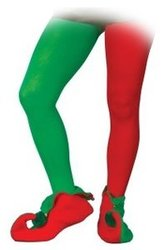 CHRISTMAS -  ELF TIGHTS, RED AND GREEN -  PANTYHOSE