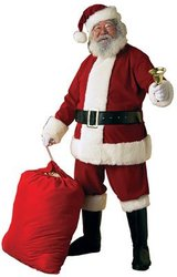 CHRISTMAS -  SANTA CLAUS COSTUME - VELVET (ADULT - ONE-SIZE) -  SANTA CLAUS