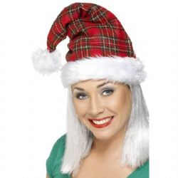 CHRISTMAS -  SANTA HAT - TARTAN WITH FUR TRIM -  SANTA CLAUS