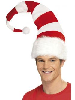 CHRISTMAS -  STRIPED SANTA HAT - RED AND WHITE -  SANTA CLAUS