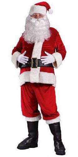 CHRISTMAS -  VELOUR SANTA SUIT (ADULT - PLUS SIZE - 50-54) -  SANTA CLAUS