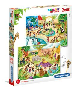 CLEMENTONI -  AT THE ZOO (2X60 PIECES)