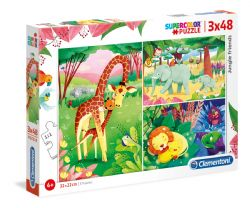 CLEMENTONI -  JUNGLE ANIMALS (3 IN 1, 3X48 PIECES)