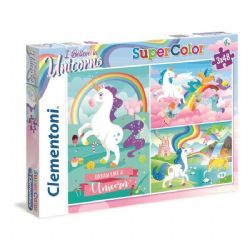 CLEMENTONI -  UNICORNS (3 IN 1, 3X48 PIECES)