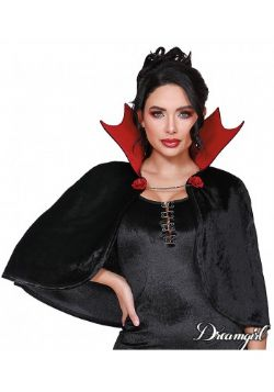 CLOAKS -  VAMP CAPE - BLACK/RED (ADULT - ONE SIZE)