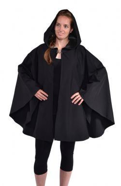 CLOAKS -  WATERPROOF CAPE PONCHO POLYESTER - BLACK (ADULT - ONE SIZE)