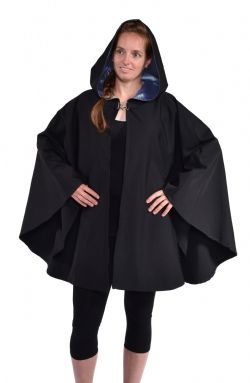 CLOAKS -  WATERPROOF CAPE PONCHO POLYESTER - DARK BLUE (ADULT - ONE SIZE)