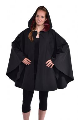 CLOAKS -  WATERPROOF CAPE PONCHO POLYESTER - DARK RED (ADULT - ONE SIZE)