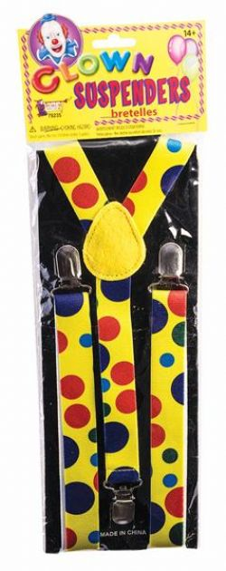 CLOWN -  CLOWN POLKA DOT SUSPENDERS - MULTICOLOR