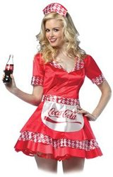 COCA-COLA -  COCA-COLA SODA GIRL COSTUME (ADULT - ONE-SIZE 4-10)