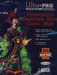 COMIC BAGS -  RESEALABLE MAGAZINE SIZE BAGS (100) (8 3/4