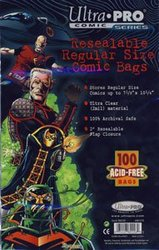 COMIC BAGS -  RESEALABLE REGULAR SIZE COMIC BAGS (100) (7 1/8