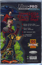 COMIC BAGS -  RESEALABLE SILVER SIZE COMIC BAGS (100) (7 1/4
