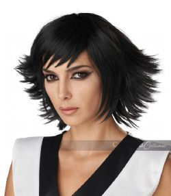 COSPLAY -  FEATHERED COSPLAY WIG - BLACK (ADULT)