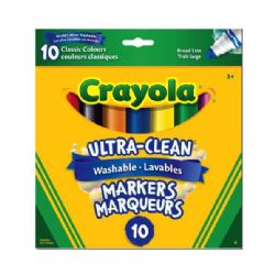 CRAYOLA -  10 CLASSIC COLOURS ULTRA CLEAN MARKERS