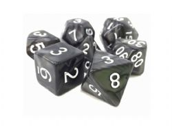 DARGON'S DICE -  7 DICE PACK BLACK PEARL OPAQUE SHADOW STRIKE