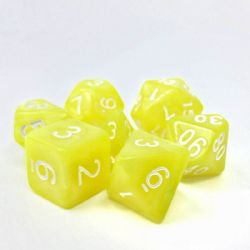 DARGON'S DICE -  7 DICE PACK YELLOW PEARL OPAQUE GOLDEN CHARM