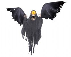 DECORATIONS -  STANDING ANIMATED WINGED REAPER (66 INCHES)
