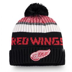 DETROIT RED WINGS -  BEANIE WITH POMPOM - BLACK