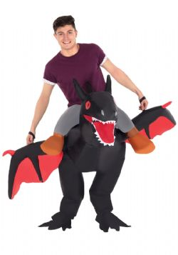 DINOSAUR -  RIDE ON BLACK DRAGON COSTUME (ADULT - ONE SIZE) -  PIGGYBACK COSTUME