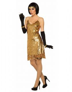 DISCO -  GOLD SEQUIN DISCO DRESS (ADULT - ONE-SIZE)
