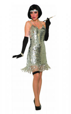 DISCO -  SILVER SEQUIN DISCO DRESS (ADULT - ONE-SIZE)