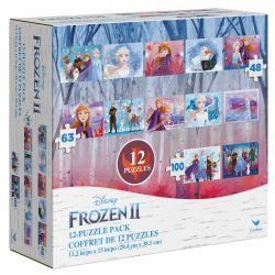 DISNEY -  FROZEN II 12-PUZZLE PACK (5X48, 5X63, 2X100 PIECES)