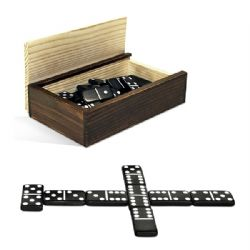DOMINOES -  DOUBLE 6 IN WOOD BOX
