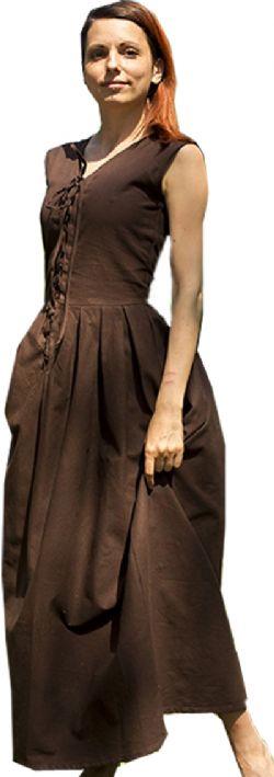 DRESS -  PEASANT DRESS - DARK BROWN