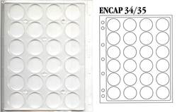 ENCAP -  RIGID SHEETS FOR 30 COINS OF 34-35 MM IN CAPSULE (PACK OF 2)