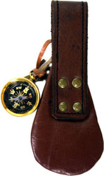EQUIPMENT -  COMPASS WITH LEATHER POUCH