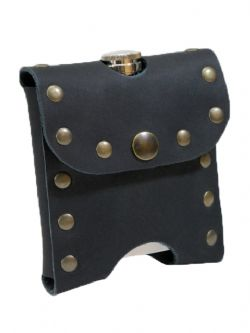 EQUIPMENT -  STUDDED FLASK-HOLDER - BLACK