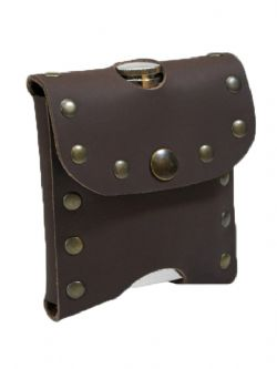 EQUIPMENT -  STUDDED FLASK-HOLDER - BROWN