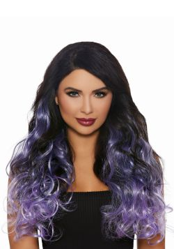 EXTENSIONS -  LONG CURLY OMBRE - GUNMETAL, LAVENDER AND LILAC