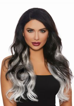 EXTENSIONS -  LONG WAVY OMBRÉ HAIR EXTENSIONS - GRAY/WHITE