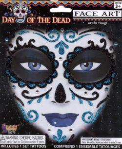 FACE ART DECOR -  DAY OF THE DEAD - BLUE