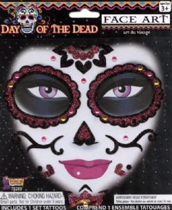 FACE ART DECOR -  DAY OF THE DEAD - PINK