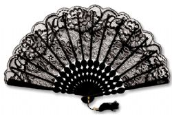 FANS -  LACE FAN - BLACK