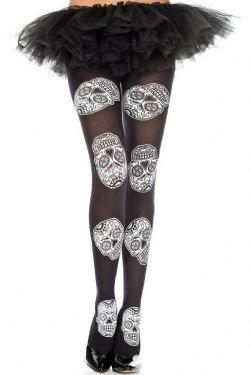 FANTASY -  BLACK WITH WHITE SKULL - ONE SIZE -  THIGH HIGH