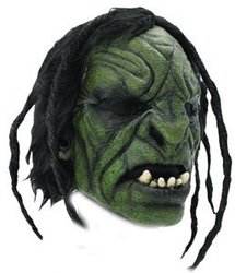 FANTASY -  GREEN ORC BRUTE MASK WITH HAIR
