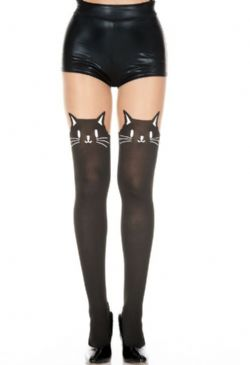 FANTASY -  KITTY - OPAQUE BLACK AND BEIGE ONE SIZE -  PANTYHOSE