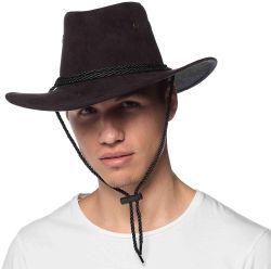 FAR WEST -  SUEDE COWBOY HAT - BLACK