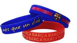 FC BARCELONA -  SET OF 3 WRISTBAND - BLUE/RED