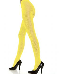FISHNET -  SMALL DIAMOND FISHNET - NEON YELLOW - ONE-SIZE -  PANTYHOSE