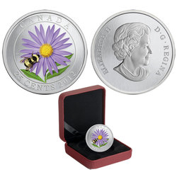 FLORA AND FAUNA -  ASTER WITH BUMBLE BEE -  2012 CANADIAN COINS 02