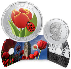 FLORA AND FAUNA -  TULIP WITH LADYBUG -  2011 CANADIAN COINS 01